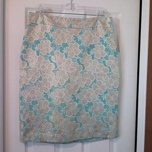 Banana Republic Aqua Gold Floral Silk Skirt - 12